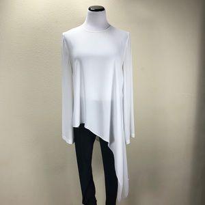 BCBG Max Azria White Asymmetrical Hemline Top